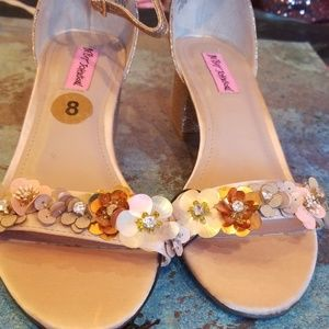 Betsy Johnson floral and glitter embellished shoes